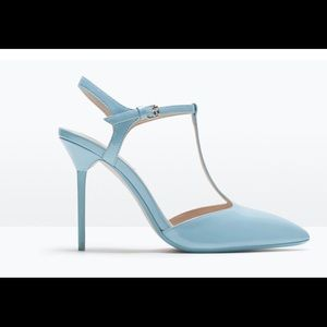 New baby blue patent leather t-strap Zara heels